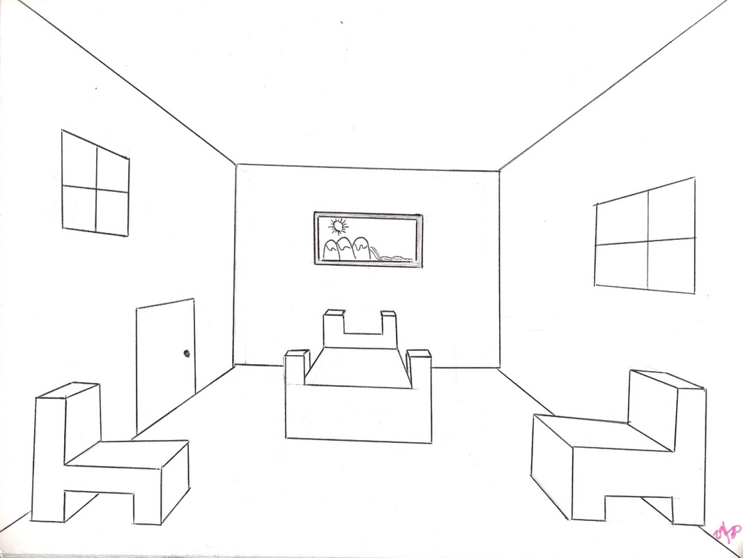 9th grade melissa 39 s art - One point perspective drawing living room ...